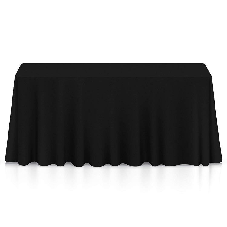 6' TABLE DRAPE LINEN (132x90) - BLACK