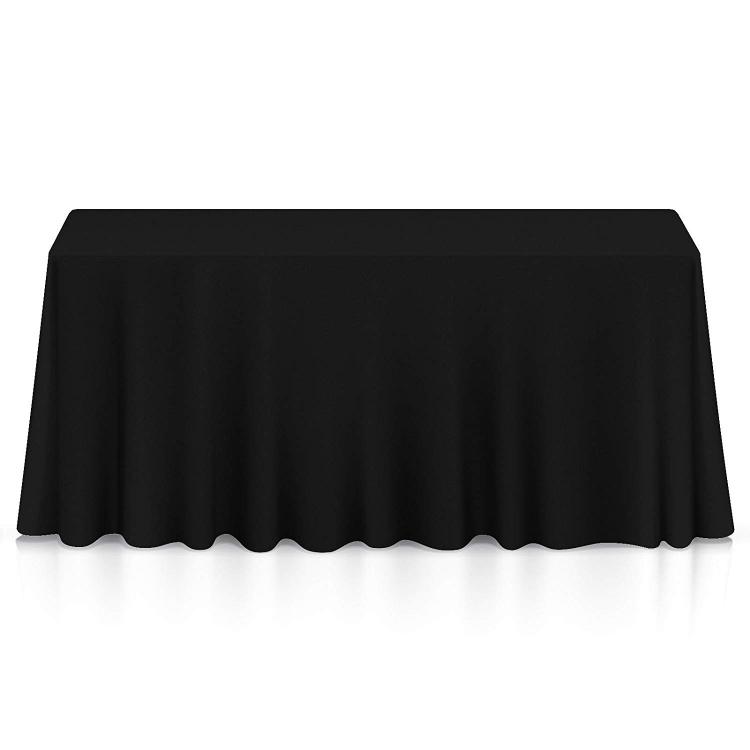 8' TABLE DRAPE LINEN  (156x90) - BLACK